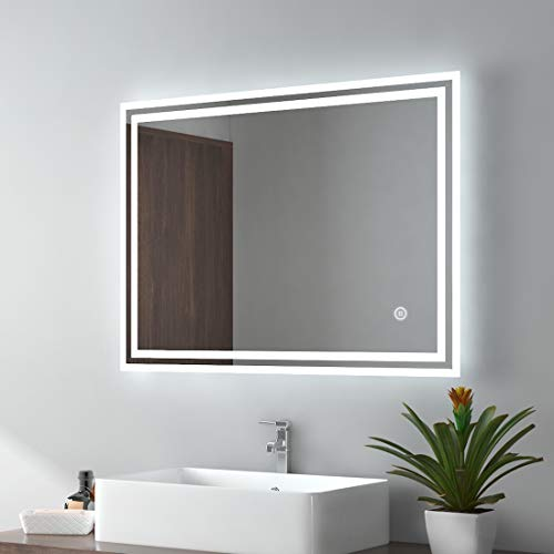EMKE Espejo de Baño Espejo de baño Espejo LED Espejo de Pared con Interruptor Táctil+Nivel de Brillo Regulable+Antivaho,IP44,62W,Ahorro de Energía,3 Colores Ajustables(80x60cm)