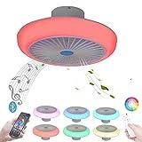 LED Lámpara de Techo RGB Ventilador de Techo con Luz y Mando a Distancia App Silencioso Dormitorio Lámpara del Ventilador con Música Altavoz Bluetooth Regulable Luz De Techo Plafón Lampara 72W 45CM