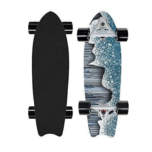 Patineta de Talla Profesional de 28', patineta de Bombeo de Surf en la Calle, Tabla Completa de Crucero cóncavo para Principiantes, Arce de 8 Capas, camión CX7, rodamientos ABEC-11, 2