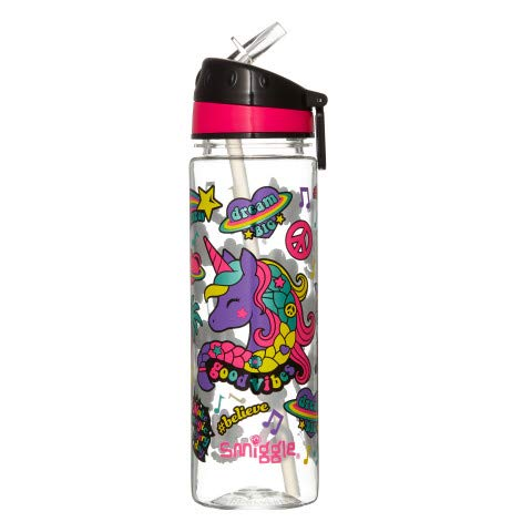 Smiggle Express, botella de agua rellenable para niñas y niños con boquilla a presión y 650ml de capacidad | Con dibujos de Unicornios
