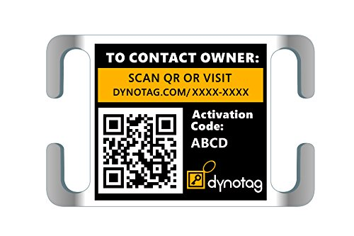 Dynotag Web Enabled Super Pet ID Smart Tag. Slider Style w. DynoIQ & Lifetime Recovery Service (Open Slot, Tag only, for 3/4 inch Collar Band)