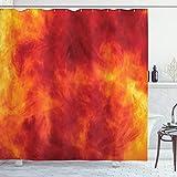 ABAKUHAUS Orange Duschvorhang, Feuer & Flammen Entwurf, Trendiger Druck Stoff mit 12 Ringen Farbfest Bakterie & Wasser Abweichent, 175 x 200 cm, Orange Gelbe