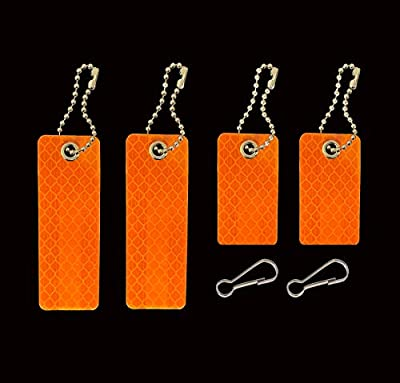jujupups 4 pcs Reflective Tags Safety Reflector - Stylish Reflective Gear for pet, Jackets, Bags, Purses, Backpacks, Strollers and Wheelchairs (Orange)