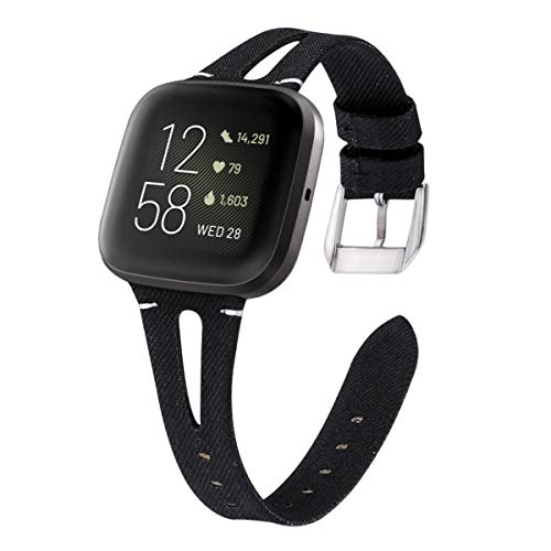 VEAQEE Woven Bands Compatible with Fitbit Versa/Versa 2/Versa Lite Edition for Women Men,Fabric Breathable Accessories Strap Adjustable Replacement Wristband for Fitbit Versa Smart Watch (Black)