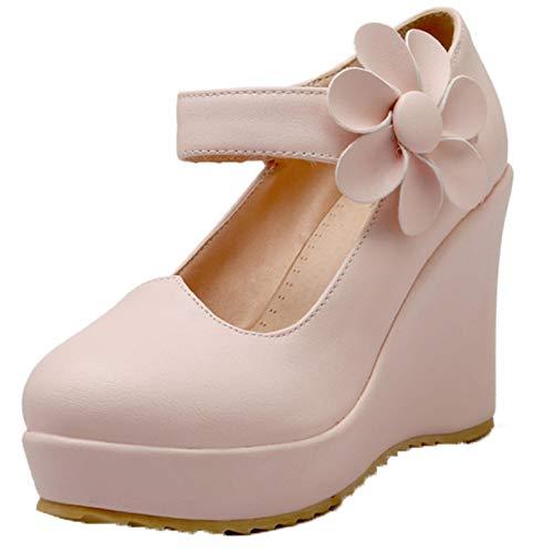 Zapatos Gruesos para Mujer, Flor sólida Suave, Elegante, Exterior, Primavera, otoño, Resistente al Desgaste, Ocio, Caminar, Oficina, Zapatos de cuña Vintage
