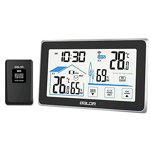 Achort Digitale Wetterstation mit Außensensor, Funkwetterwächter Innenraum-Außentemperatur-Luftfeuchtigkeitsüberwachung Hintergrundbeleuchtung Wetterstationsuhr, schwarz