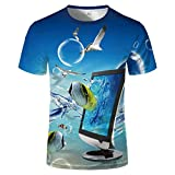 HYTR 3D Camisetas con Estampado Hombre Moda Ocean Fish Big Shark Print Set Camiseta con Cuello En O XXXL