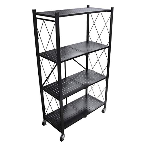 IFOYO 4 Tier Foldable Storage Shelf Unit with Wheel, Heavy Duty Storage Shelving Unit for Kitchen, Garage and Laundry Bathroom Tool Organization, Black
