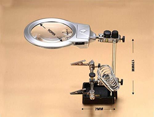 YO-TOKU - Lupa de estación de soldadura de tercera mano con lente de cristal de aumento de 2.5X 6X, soldadura, electrónica, hobby y manualidades