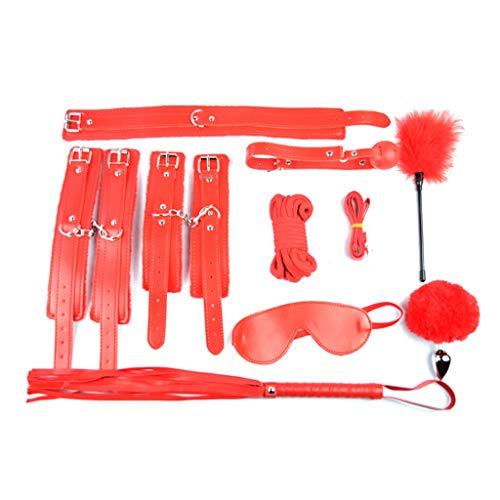 WYY Die Bindung 9 Sets Handschellen Schlüssel Polizei Cosplay Partei liefert Cosplay Zubehör Handschellen Elastic Behaupten Toy Handschellen Spielen so tun, T-Shirt, Sunglasses (Color : Red)