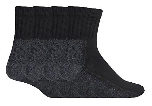 Workforce 4 Paare Herren Arbeitssocken Sicherheit Baumwollanteil Schwarz Grau Sneaker Socken WFH0091 39-45 eur