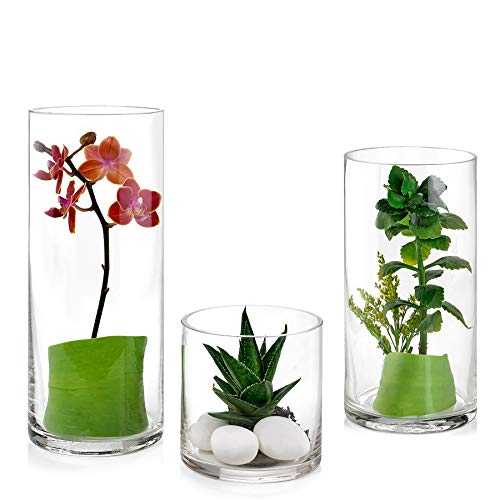 Set of 3 Glass Cylinder Vases 4, 8, 10 Inch Tall – Multi-use: Pillar Candle, Floating Candles Holders or Flower Vase – Perfect as a Wedding Centerpieces.