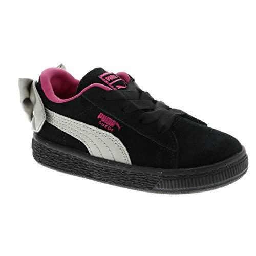 Puma Baby Mädchen Suede Bow AC INF Sneaker, Schwarz Black-Fuchsia Purple 10, 25 EU