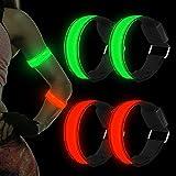 LED Bracciale, 4 Pezzi LED Bracciale Catarifrangente, Bracciali Luminosi Running, Braccialetto sportivo a LED per Corsa Notturna, Jogging, Escursionismo, Ciclismo e Sport Altri all'aria aperta