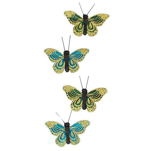 Mejores ventas – Imanes de plumas para cortinas, decoración de mariposas koh Samui, colores azul y verde oscuro, 4 mariposas