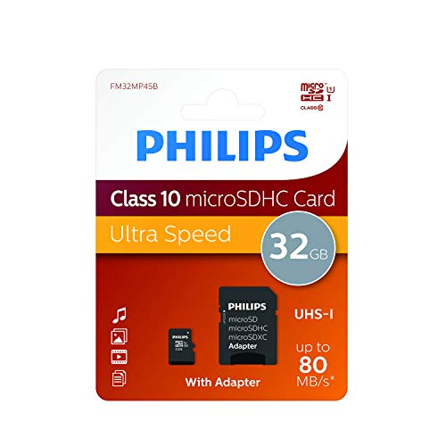 Philips Micro SD cards FM32MP45B/10 - Memory Cards (32 GB, MicroSD, Class 10, Black)