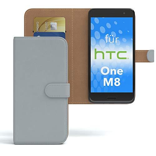 EAZY CASE HTC One (M8) / (M8s) Hülle Bookstyle mit Standfunktion, Book-Style Case aufklappbar, Schutzhülle, Flipcase, Flipstyle, Flipcover mit 2 Kartenfächern aus Kunstleder, Hellgrau