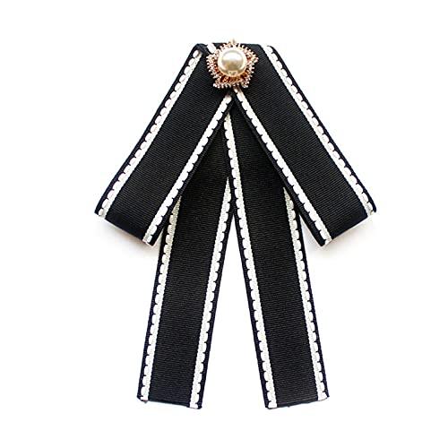 YSQSPWS Pajarita Flor niña Uniforme Rhinestone Pajarita Broche Negro Blanco Camisa Rayada Cinta Bowtie para Las Mujeres Accesorios Ropa y Accesorios (Color : 02)