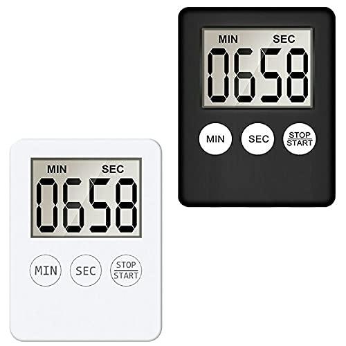 2 Stück Digitaler Küchentimer mit Alarm Erinnerungsfunktion,Kurzzeitmesser Timer Magnetisch Eieruhr Küchenuhr Countdown Stoppuhr mit Großem LCD Display