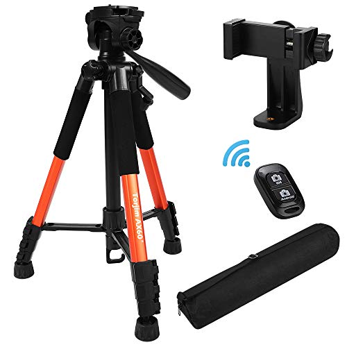 """Torjim 60"""" Camera Tripod with Carry Bag, Lightweight Travel Aluminum Professional Tripod Stand (5kg/11lb Load) with Bluetooth Remote for DSLR SLR Cameras Compatible with iPhone & Android Phone-Orange"""
