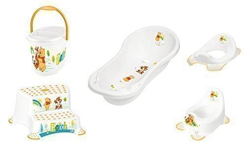 5er Set Z Winnie Pooh Blanc: XXL + Baignoire Wc + Pot+Tabouret Deux Niveaux + Sceau à Couches