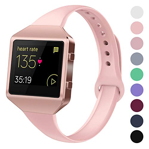Acrbiutu Bands Compatible with Fitbit Blaze, Slim Thin Narrow Replacement Silicone Sport Accessory Strap Wristband with Metal Frame for Fitbit Blaze Smart Fitness Watch Women Men