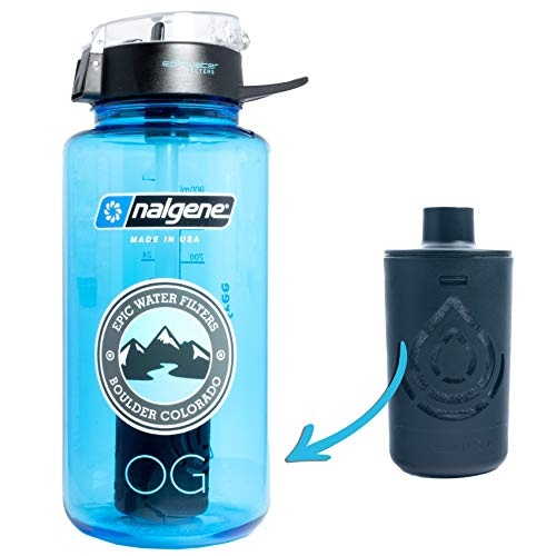 Epic Nalgene OG   Water Bottle with Filter   USA Made Bottle and Filter   Dishwasher Safe   Filtered Water Bottle   Travel Water Bottle   BPA Free Water Bottle   Removes 99.99% Tap Water Impurities