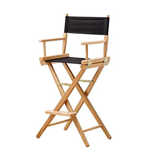ShJttt-chair or stool Chaise Haute de Directeur en Bois Massif, Chaise de Bureau Pliante portative en Plein air (Couleur : Noir)