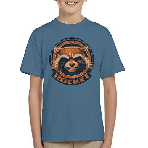 Marvel Guardians of The Galaxy Rocket Distressed Headshot Kid\'s T-Shirt
