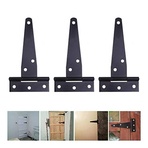 Hinges 12Pcs 4Inches T Shaped Rustproof Iron Light Duty Shed Hinge Gate Strap Hinge Door Gates Hinges (Black) Docking