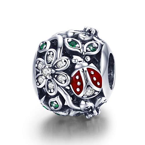 Ciondoli Coccinella compatibili con Bracciale Pandora, Argento Sterling Moda Fiore Rosso Wonderland Cubic zircone Charms Regalo Donna