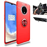 OnePlus 7T Case,360° Rotating Ring Kickstand Protective Case,Silicone Soft TPU Shockproof Protection Thin Cover Compatible with [Magnetic Car Mount] for OnePlus 7T Case (Red/red)