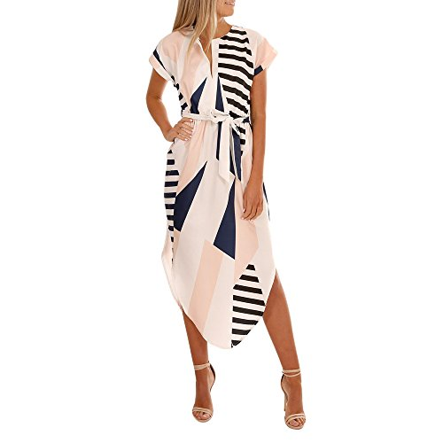 Willow S Women Short Sleeve V Neck Irregular Geometry Printed Side Split Multicolor Stitching Maxi Dress White
