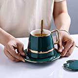 Taza de café fijar la leche taza de té verde 450ml (Capacity : 450ml, Color : Cup set)