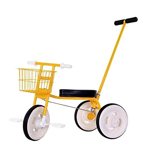 QBLDX Bicicleta de Pedales de 3 Ruedas para Niños Pequeños - Triciclo Simple,Triciclo con Asientos Cómodos y Cuerpo de Acero Al Carbono,Adecuado para Bebés de 1 a 6 años,Yellow