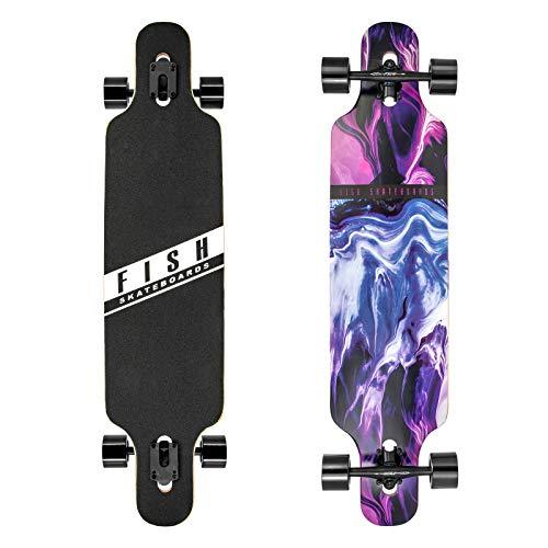 FISH SKATEBOARDS 41-Inch Downhill Longboard Skateboard Through Deck 8 Ply