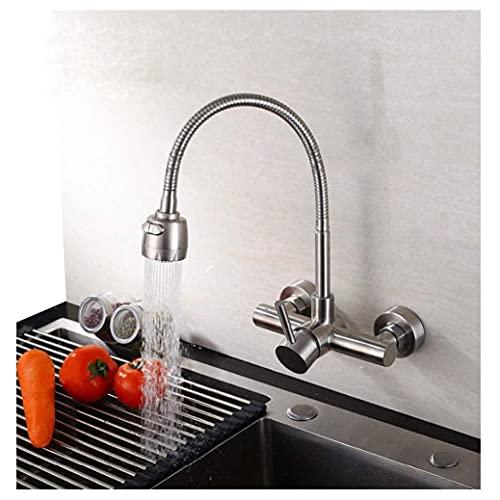 SENWEI Küchenarmatur Wandmontierte Spüle Mischbatterie Edelstahl Gebürstetes Nickel Schwenkbar 360 Grad Dusche Flexibel Zwei Arten