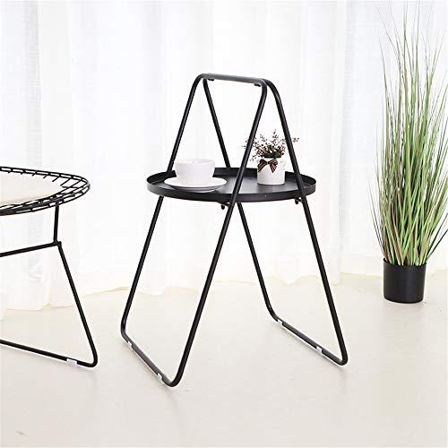 Mesa de té Salón Dormitorio nórdico-un Estilo en Forma de Tabla de café portátil Sala de Estar la decoración del hogar (Color : Black, Size : 44×66cm)
