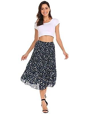 Chigant High Waist Floral Printed Pleated Skirt Boho Chiffon Midi Skirts for Women