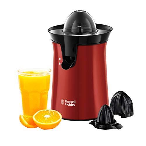 Russell Hobbs Orangenpresse & Zitruspresse elektrisch rot (2 autom. links-& rechtsrotierende Presskegel für Zitronen/Orangen), Tropf-Stopp-Funktion, spülmaschinenfest, BPA-frei, Saftpresse 26010-56