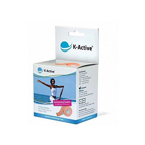 K-Active Kinesiologie Tape Elite BEIGE, wasserabweisend und hypoallergen, 50 mm x 5 m, 1er Box