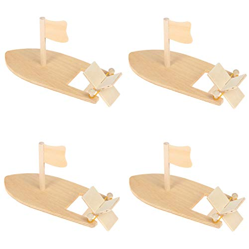 MIAO JIN 4 Pack DIY Wooden Sailboat Band Paddle Boat Paint and Decorate Wooden Sailboat Craft Kits