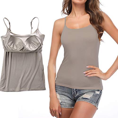 STARBILD Unterhemden & BH-Hemden für Damen Trägertop Damen Tank Top Dehnbar mit Verstellbare Träger Unterhemd, Grau 2XL