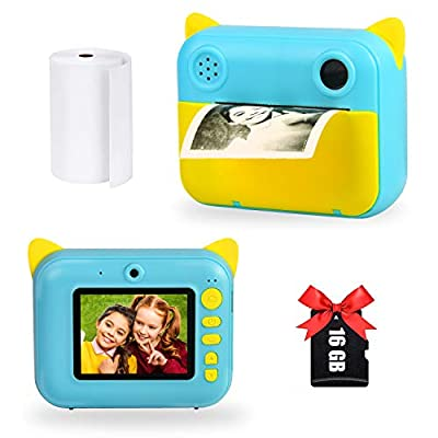 Instant Print Camera for Kids, Upgrade Selfie Kids Camera Digital Zero Ink Video Camera with 1 Rolls Print Paper Camera 1000 mAh Dual Lens 1080P HD Video Recorder As Toys Gifts for Girl and Boy from Leapom
