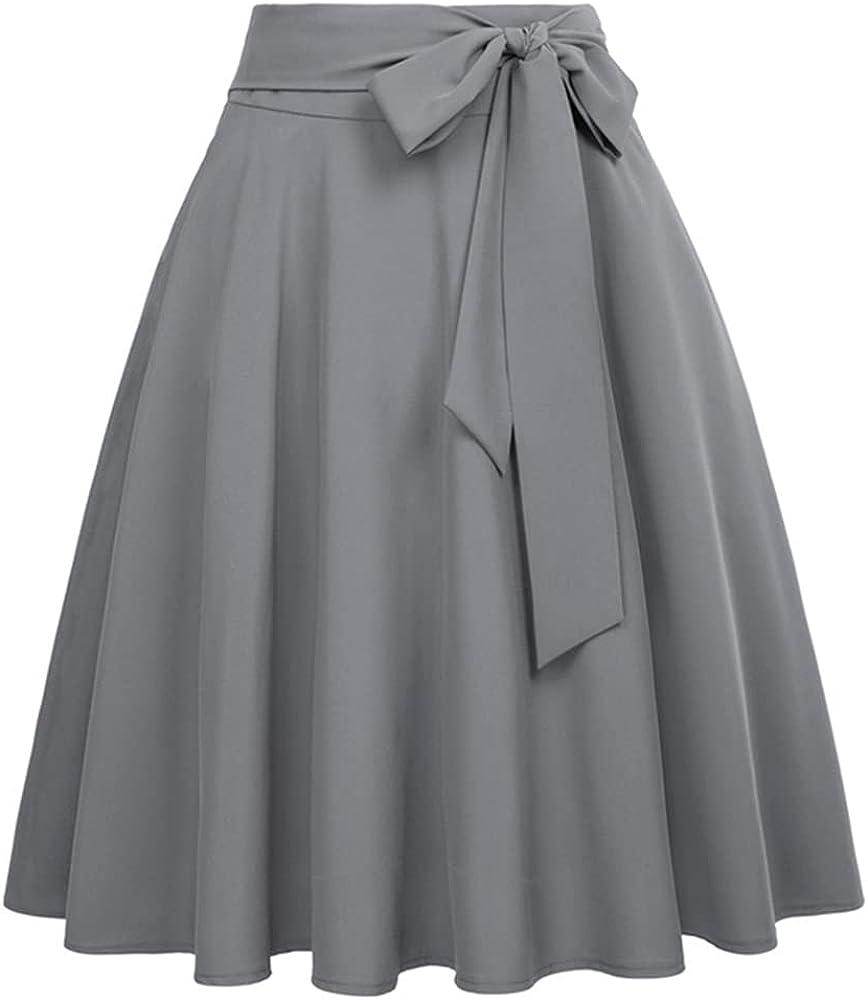 Women Color Waist Skirts Self-Tie Embellished Big Swing keen Length A-Line