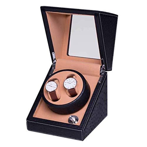 GUOOK GUOOK Uhrenbox Automatik Uhrenbeweger Rotierend Selbstaufzug Aufbewahrungsvitrine Box und Extrem Leiser Motor (Farbe: Schwarz)