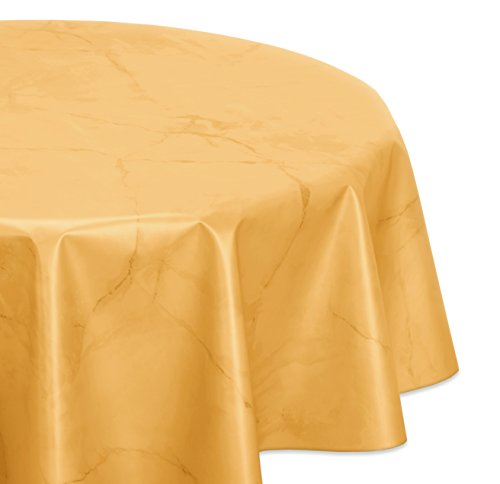 Wachstuchtischdecke glatt abwischbar OVAL RUND ECKIG, Marmorstein Wachstuch Garten Tischdecke, Größe und Farbe wählbar (Rund 140 cm, Gelb)