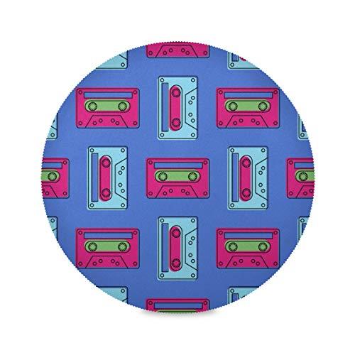 Lot de 4 Sets de Table Ronds colorés Tendance rétro Pop Art Music Tape Kitchen Coffee Mat Mats for Tables 15.4 inch Easy to Clean for Kitchen Dining Table Holiday Party