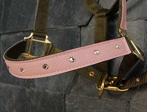Glitzer Halfter Pferd \'Rose Shine\' in Rosa & Khaki mit Strass Steinen (Warmblut)