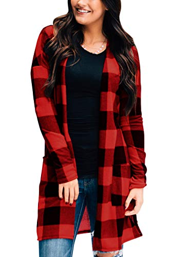 Christmas Cardigan for Women Open Front Red Plaid Cardigan Kimono Plaid Shirt Long Sleeve Casual Plaid Cardigan Red L